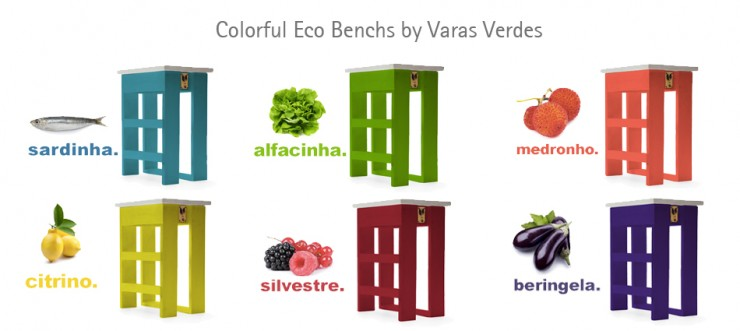 varas verdes2 740x331 Colorful Eco Benchs